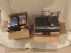 75 VHS Tapes and 2 VHS Recorders