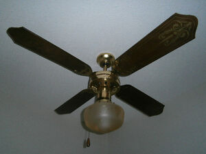 Ceiling Fan with Fruit Etched School House style light fixure