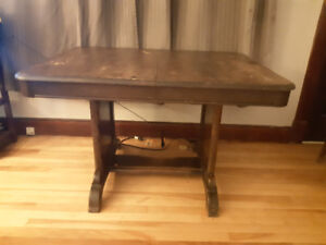 Antique Table with drop in leaf and 4 chairs