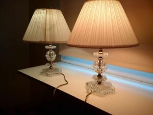 DONT MISS THIS DEAL! $35 PAIR ANTIQUE CRYSTAL CUT GLASS LAMPS