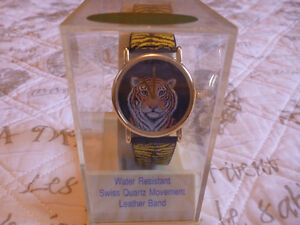 Tiger Watch with Leather Band (Mint Condition - Never Worn!)