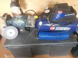 Mastercraft Bench Grinder and Air Compressor