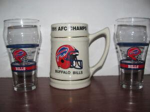 Vintage Buffalo Bills Ceramic Mug & 2 Bills Coca Cola Glasses