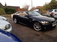 2009 58 BMW 320i M SPORT CONVERTIBLE.FANTASTIC EXAMPLE.BLACK WITH CREAM LEATHER.