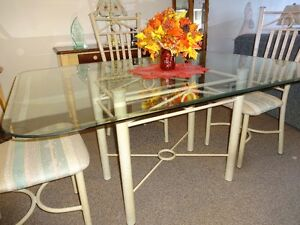 Glass Dining Table & Four Metal Chairs Sarnia Sarnia Area image 3