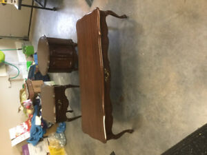 Solid Wood French Provincial Coffee and two End Tables