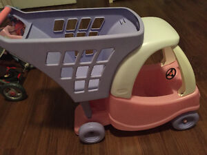 Play shopping cart with doll cart.