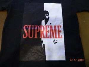 Supreme headbands, collab shirt and Scarface t-shirts.
