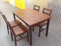 """Stain pine table with four chairs """"FREE LOCAL DELIVERY """""""