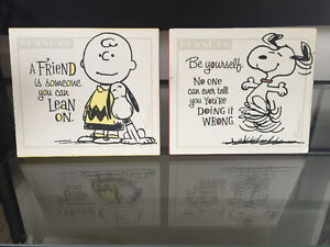 Two Peanuts Plaques and Notepad