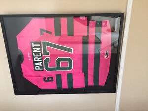 XAVIER PARENT MOOSEHEADS  GAME WORN SIGNED PINK FRAMED JERSEY