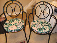 4 Wrought iron Garden Chairs with Custom made Cushions.