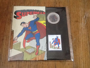 LENTICULAR COIN STAMP SET SUPERMAN THEN AND NOW 2013
