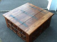 Large Wooden solid dark wood box.