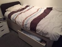 Single divan bed with 2 drawers, base only