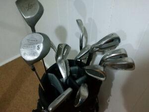 Golf Clubs, Left Handed. Visa II Confidence irons, Golf Bag