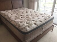 Queen size bed frame, headboard, rail and mattress for sale!