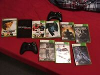 Xbox 360 2 wireless controllers and games