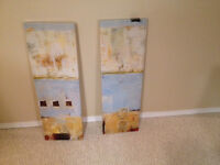 Two Stretched Canvas on Wood Frame
