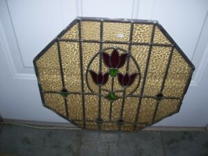 Antique Stain glass Window  Nice Tulips design