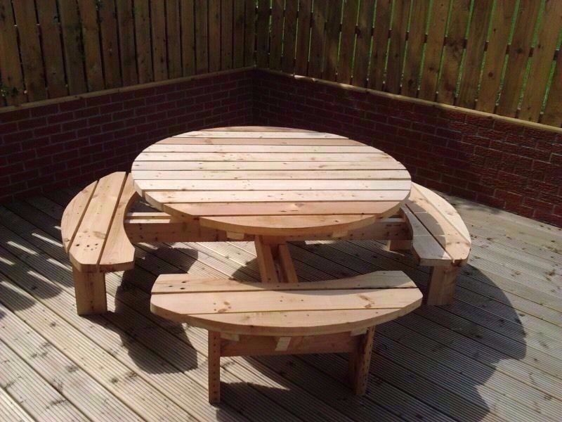 Round Picnic Table Pub Bench Patio Furniture Heavy Duty Or - 8 seater round picnic table