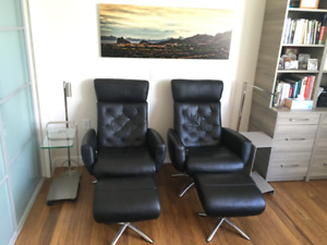 $1,950 · As New Black Leather Chairs and Ottomans