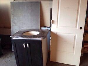Door slab and sink