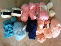 Knobby yarn, different colors, cotton/acrilyc