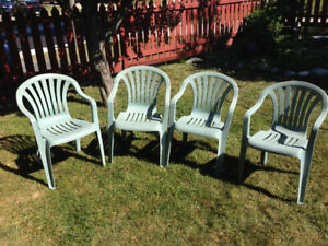 PATIO CHAIRS (4), Stackable, Resin