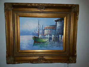 """Beautiful 12"""" by 16"""" painting of a moored boat in a spectacular"""