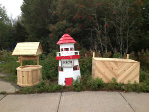 Custom Made Cedar, Light Houses, Wishing Wells, Garbage Boxes