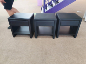 30. X display black leather end tables
