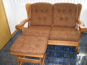 Tweed Loveseat and ottoman with solid wood frame