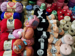 Knitting Wool Lot (200 + pieces) (30+ vintage magazines)