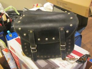 Black leather saddle bags