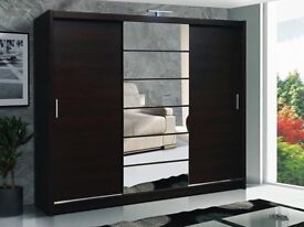 BRAND NEW 250cm WIDE 3 DOOR SLIDING WARDROBE WITH FULL MIRROR IN BLACK/WHITE/WALNUT/WENGE