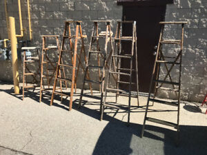 VINTAGE WOODEN LADDERS - 3 ASSORTED HEIGHTS ARE LEFT