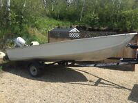 16 foot boat, motor and trailer