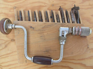 Vintage Brace and Bit with 13 assorted drill bits
