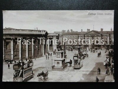 c1912 - College Green, Dublin - showing busy animated scene with trams etc
