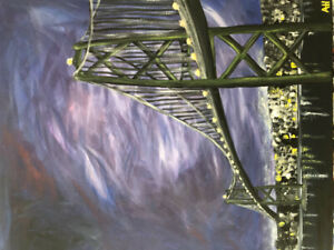 Original acrylic painting - 'stormy skies over Macdonald bridge'