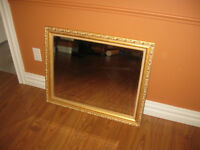 Bevelled Mirror and Gold Frame