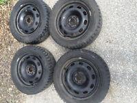 195/55r15 Hankook iPike Winter tires on 5x100 steel wheels