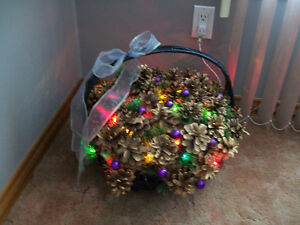 TWO LIGHT UP CHRISTMAS BASKET DECORATION ORNAMENT
