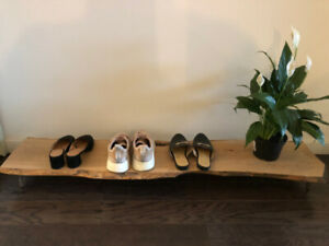 Live edge barn board shoe bench / shelf with hairpin legs