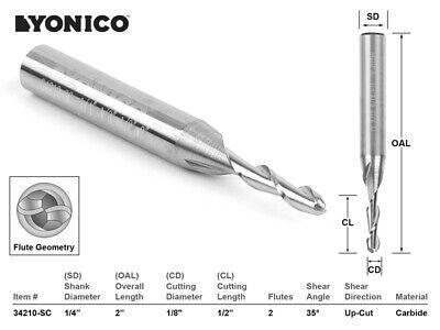 18 Dia. 2 Flute Ball Nose Cnc Router Bit - 14 Shank - Yonico 34210-sc