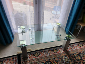 Clear Contemporary Glass Coffee Table With Aluminium Legs