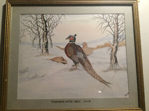 "Edward John William art - ""Pheasants in the snow"" 1989"