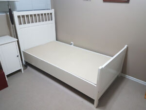 IKEA Single Bed and Nightstand Set - White