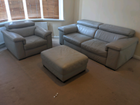 Two seater sofa, armchair and footrest (grey)